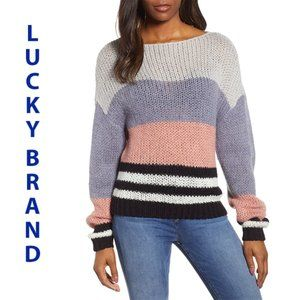 Lucky Brand Striped Colorblock Sweater Pink M